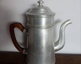 Cafetière vintage en aluminum pur / French vintage aluminium coffee maker