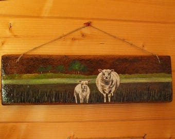 sheep painted on wood - (recycled boards)