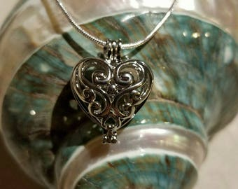 "Silver Plated Filigree Heart Pearl Cage Pendant with 925 Sterling Silver 20"" Chain"