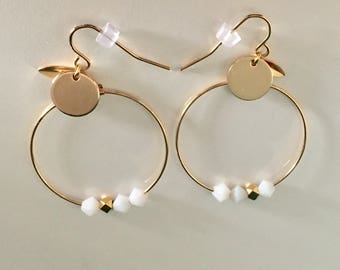 "Earrings ""Mona"": Creole Gold 30 mm and white Swarovski pearls, gold-plated"