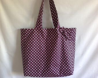 Coated with polka dots tote bag and bow