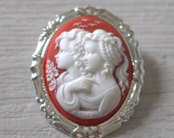 Kids Vintage pendant brooch Victorian Red