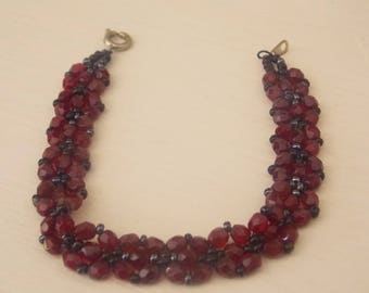 Beautiful choker necklace beaded red garnets and black