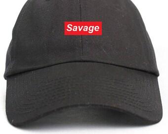 Savage Supreme Box Logo Dad Hat Adjustable Baseball Cap New - Black