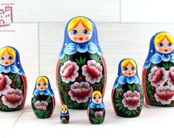 Wild Roses Matryoshka set of 7 pcs Stacking Wooden Russian Nesting Dolls