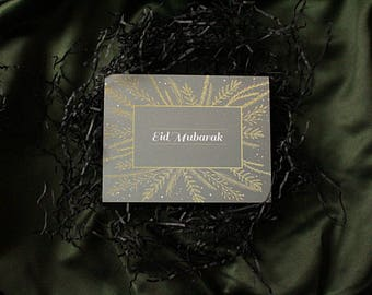 Midas Touch Eid Mubarak Card (Gold Effect and Grey) - With Matching Envelope