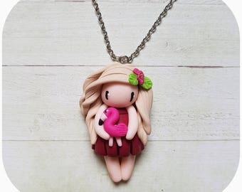 "Necklace little girl ""hair beige, Burgundy dress"" (Flamingo collection)"