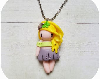 "Necklace little girl ""blonde hair, green/gray"" (flowers collection)"