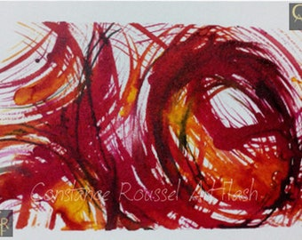 Abstract red yellow graf 2 watercolor