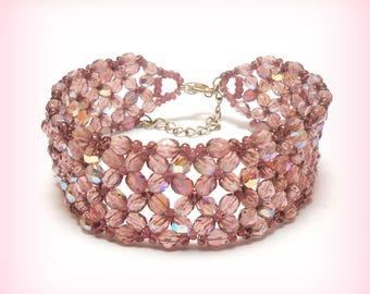 "Cuff Bracelet woven Bohemian ""Purple powder!"""