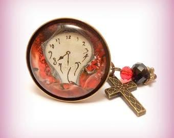 "Ring cabochon glass ""Pendulum funny!"""