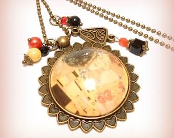 """""""Klimt - the Kiss"""" glass Cabochon necklace"""