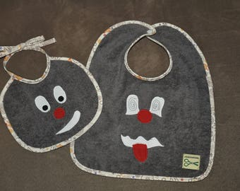 Set of two bibs taupe baby funny Monster