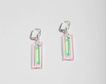 """ANA"" pastel pink/green earrings"