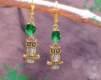 Gold OWL - green earrings