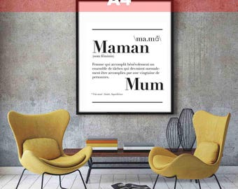 "Poster A4 size ""MOM"" definition: 21 x 29.7 cm"