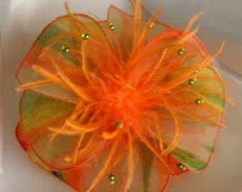 Fabric flower brooch & feathers and pearls * 244 *.