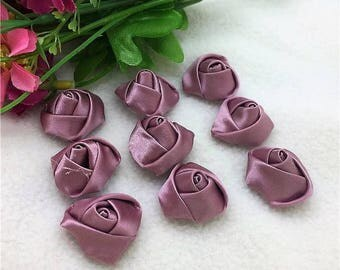 set of 10 satin flowers