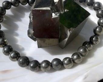 10 pearls 6mm pyrite round