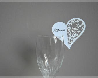 Card name brand - Place heart glass x 20 ivory or white