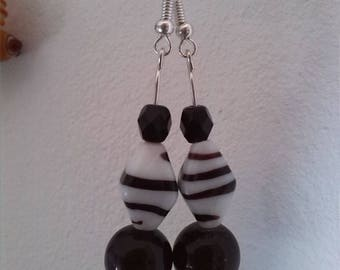Black and white striped glass beads earrings