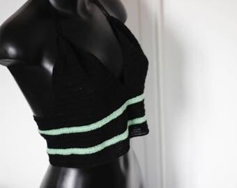 """Top Crochet Halter Croptop """"Green water"""" effect"""