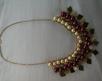 Burgundy and ivory necklace