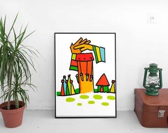 Greetings of the gods - downloadable art, art print, illustration, home decor
