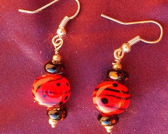 Black and red Lampwork Glass earrings