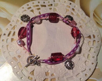 """""""Ribbon, beads and charms"""" bracelet"""