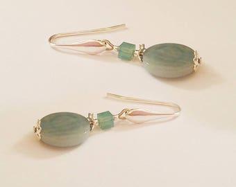 Silver hook 925 blue tagua swarovski crystal cube earrings