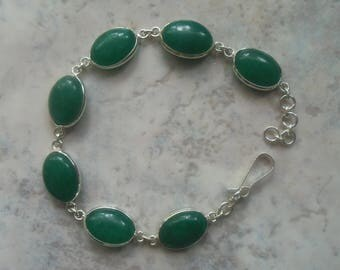 Bracelet in 925 sterling silver and green chalcedony