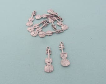 Set of 10 charms (pendants) violin - Music, instrument - Silver metal - Nickel free