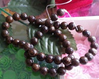 strand of 50 beads bronzite 8mm diameter, hole 1 mm