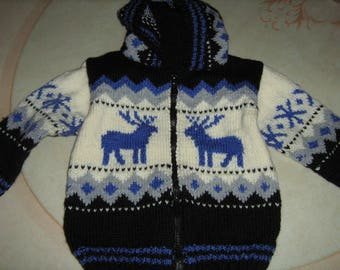Hand knitted jacket hooded boy with jacquard 2 years.