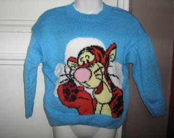 Hand knit sweater blue jacquard with Tiger 6 years.