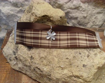 Bracelet double Ribbon with four feuillles clover