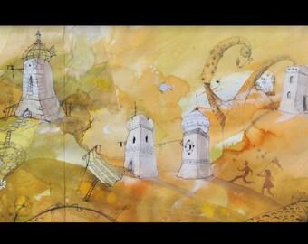 Table; orange skyline - watercolor & ink - a dreamy walk