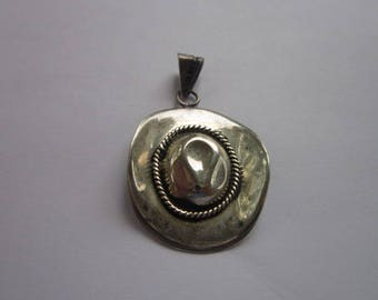 Antique Mexican Western Cowboy Hat Sterling Silver Necklace Pendant