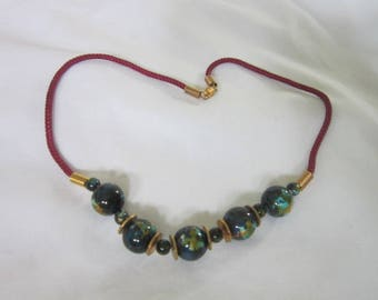 Vintage Marbled Balls Retro Choker Necklace