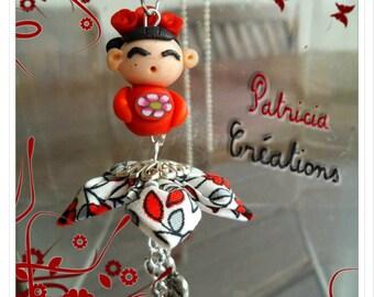 Pendant Fimo flower Kanzashi flower heart pendants Kokeshi doll bag charm