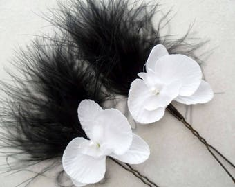2 metal white feather Orchid bridal hair accessory-black