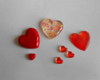 1 set of 7 red hearts made handmade resin clay
