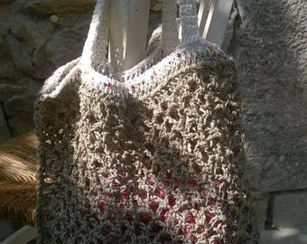 Tote NET linen accented with pearls
