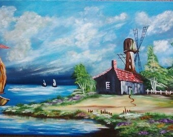 """Painting on canvas """"Holland landscape"""""""
