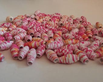 Paper tone pink/orange beads