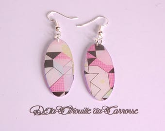 Graphic, geometric earrings, multicolor