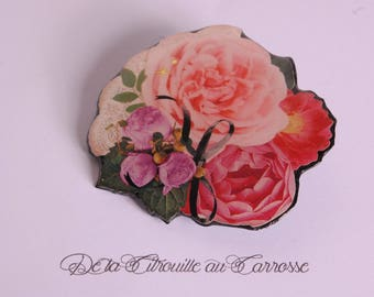 Romantic, pink and purple floral brooch