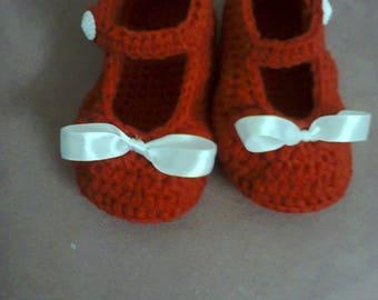 handmade red crochet baby shoes