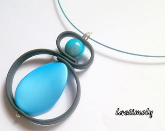 fancy cable Choker necklace turquoise